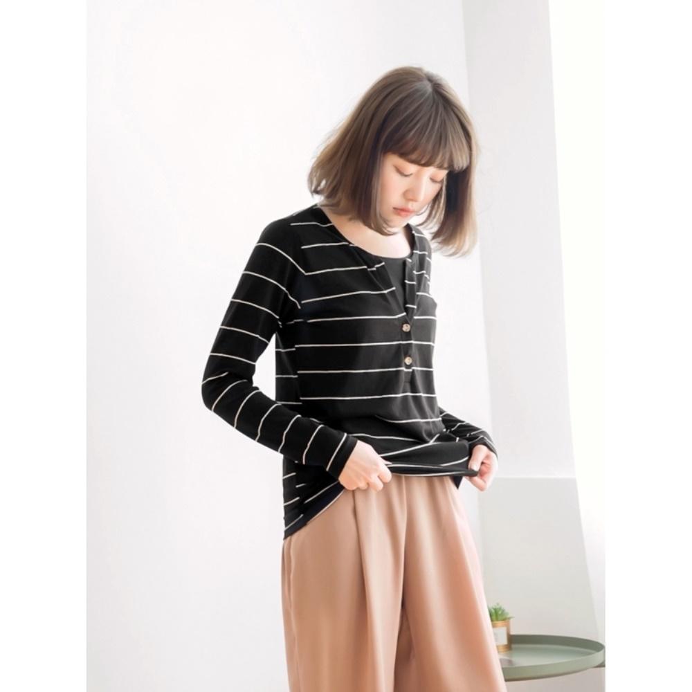 台灣製造開襟排釦假兩件橫條紋長袖上衣-OB嚴選