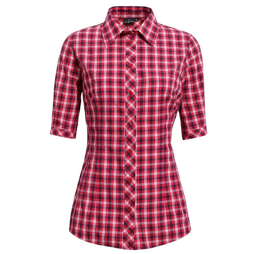 【hilltop山頂鳥】女款吸濕快乾短袖襯衫S06F49-紅/粉紅格子