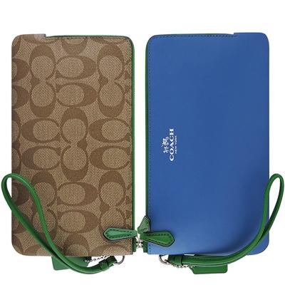COACH 藍色皮革壓紋雙層拉鍊六卡手拿包