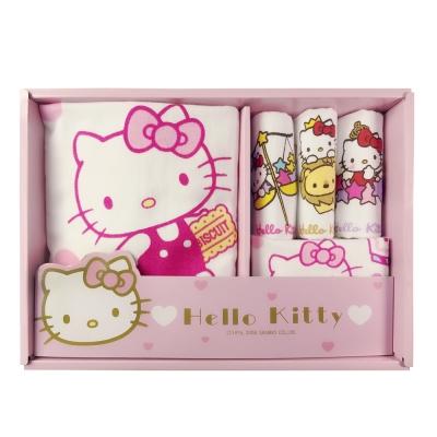 HELLO KITTY凱蒂貓點心時刻無捻紗禮盒(浴巾+毛巾+3小手巾)