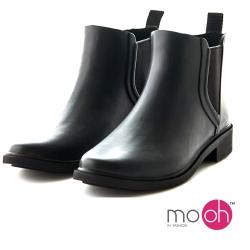 mo.oh 愛雨天-素面切爾西鬆緊帶雨鞋-黑色