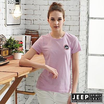 JEEP 女裝 極簡短袖T恤-天光紫