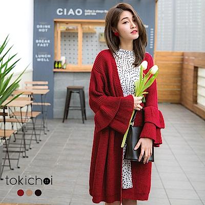 東京著衣 多色輕甜蛋糕荷葉袖針織外套(共三色)