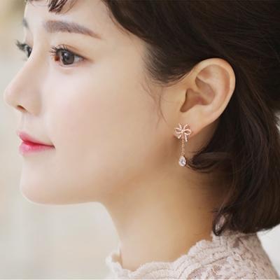 梨花HaNA-韓國妳的禮物垂綴蝴蝶結耳環玫瑰金