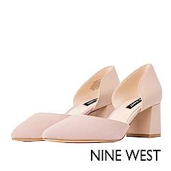 NINE WEST--魅力簡約粗跟尖頭鞋-清新裸膚