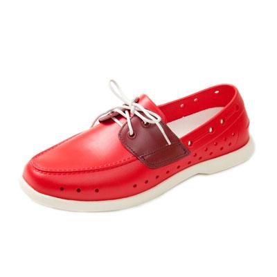 (男/女)Ponic&Co美國加州環保防水洞洞綁帶帆船鞋-紅色