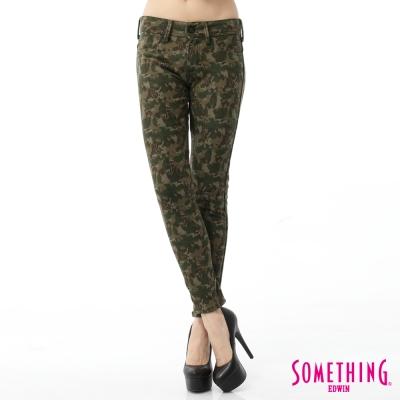 SOMETHING 窄直筒 LADIVA合身保溫色褲-女-灰綠