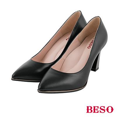 BESO 摩登女郎 全真皮素面尖頭單鑽高跟鞋~黑