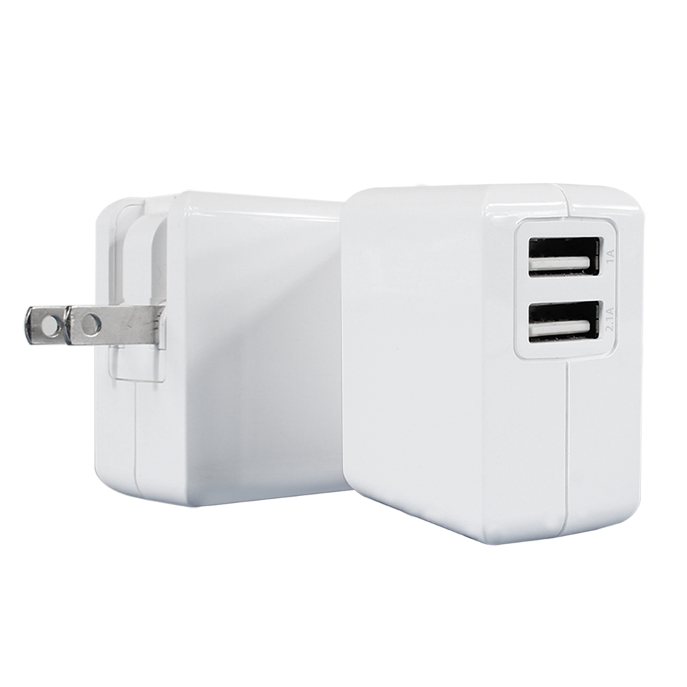 ZIYA iPhone iPad 雙USB孔 1A+2.1A 充電器/變壓器 白色情人款