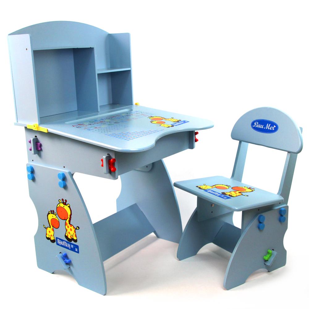 寶盟BAUMER 木質兒童升降成長書桌椅(天空藍)