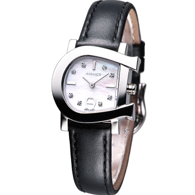 AIGNER 愛格那經典設計時尚腕錶-黑/28x30mm
