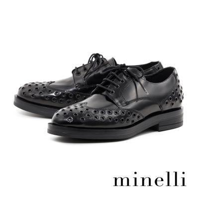 Minelli-漆皮扣飾厚底德比平底鞋-個性黑
