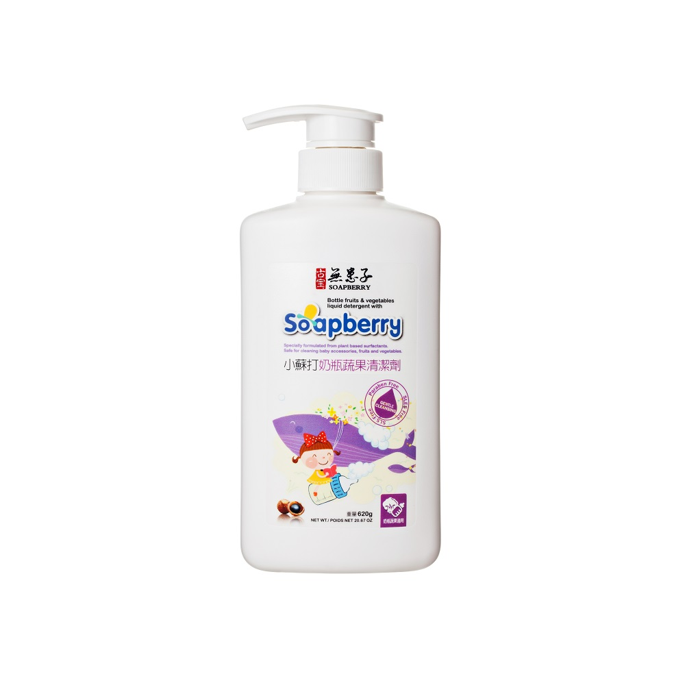 古寶無患子小蘇打奶瓶蔬果清潔劑620g(添加天然葡萄糖苷APG)