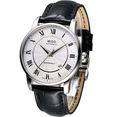 MIDO Baroncelli II 羅馬假期機械腕錶-白/皮帶/38mm