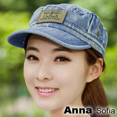 AnnaSofia-單寧USA布標-棒球帽軍帽-中藍系