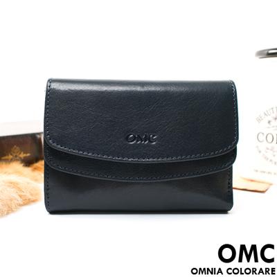 OMC - 原皮魅力真皮系列多卡零錢袋中夾-星辰藍