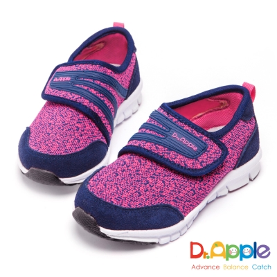 Dr. Apple 機能童鞋 雙色針織簡約休閒鞋-桃