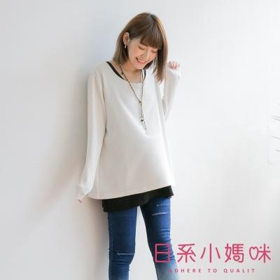 日系小媽咪孕婦裝-台灣製哺乳衣~假二件後蝴蝶結壓紋上衣 (共二色)