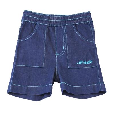 愛的世界 MYBABY 鬆緊帶車線牛仔短褲/1~4歲