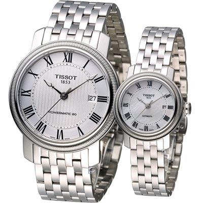 TISSOT BRIDGEPORT 經典寶環機械對錶-白/40x29mm
