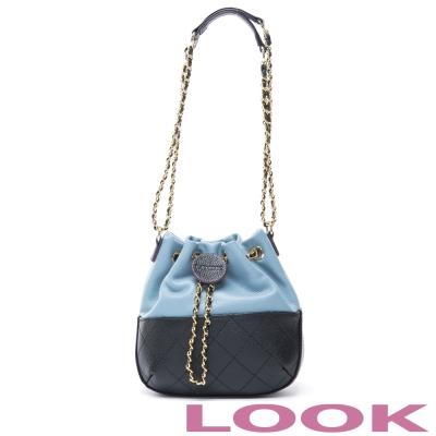 LOOK - Lucia露西亞菱格牛皮水桶包-優雅藍