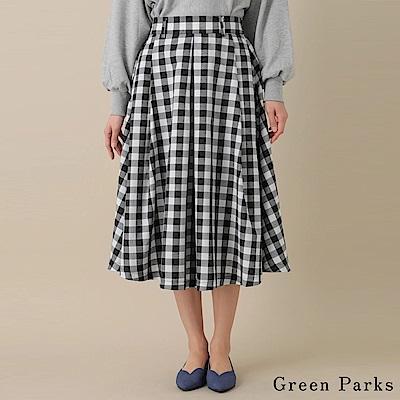 Green Parks 不規則下擺打褶格子裙