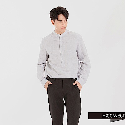H:CONNECT 韓國品牌 男裝 - 亨利領亞麻襯衫-白灰