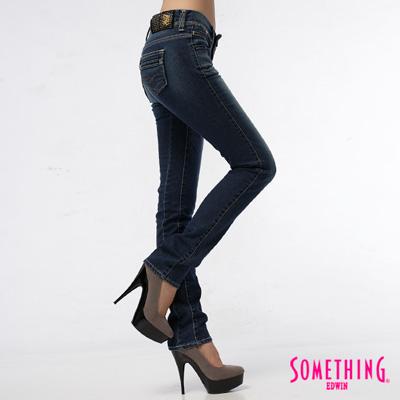 SOMETHING-法式微醺-蕾絲雙層腰頭窄直筒牛仔褲-女款-中古藍