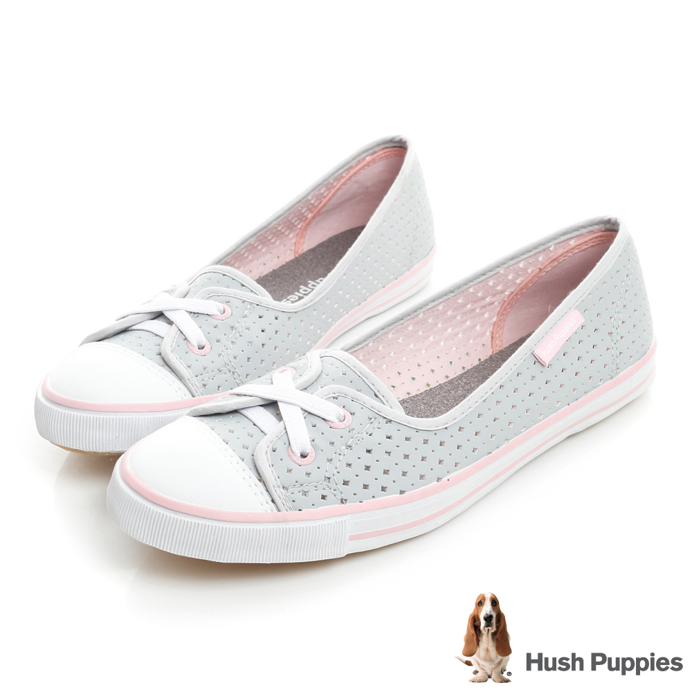 Hush Puppies 涼感沖孔咖啡紗皮質娃娃鞋-淺灰/粉紅
