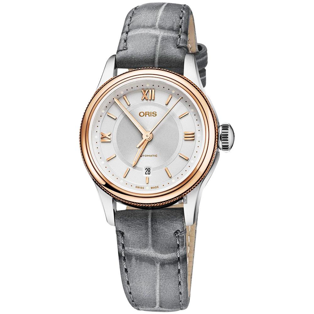 Oris豪利時 Classic Date 都會時尚機械女錶-銀x玫塊金框/28.5mm
