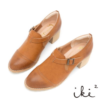 iki2-獨特品味粗跟牛津鞋-棕