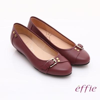 effie 輕透美型 牛皮皮飾條帶楔型低跟鞋 紫紅