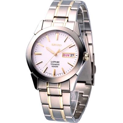 SEIKO 鈦金屬 男用石英腕錶(7N43-0AS0KS)白x金/37mm