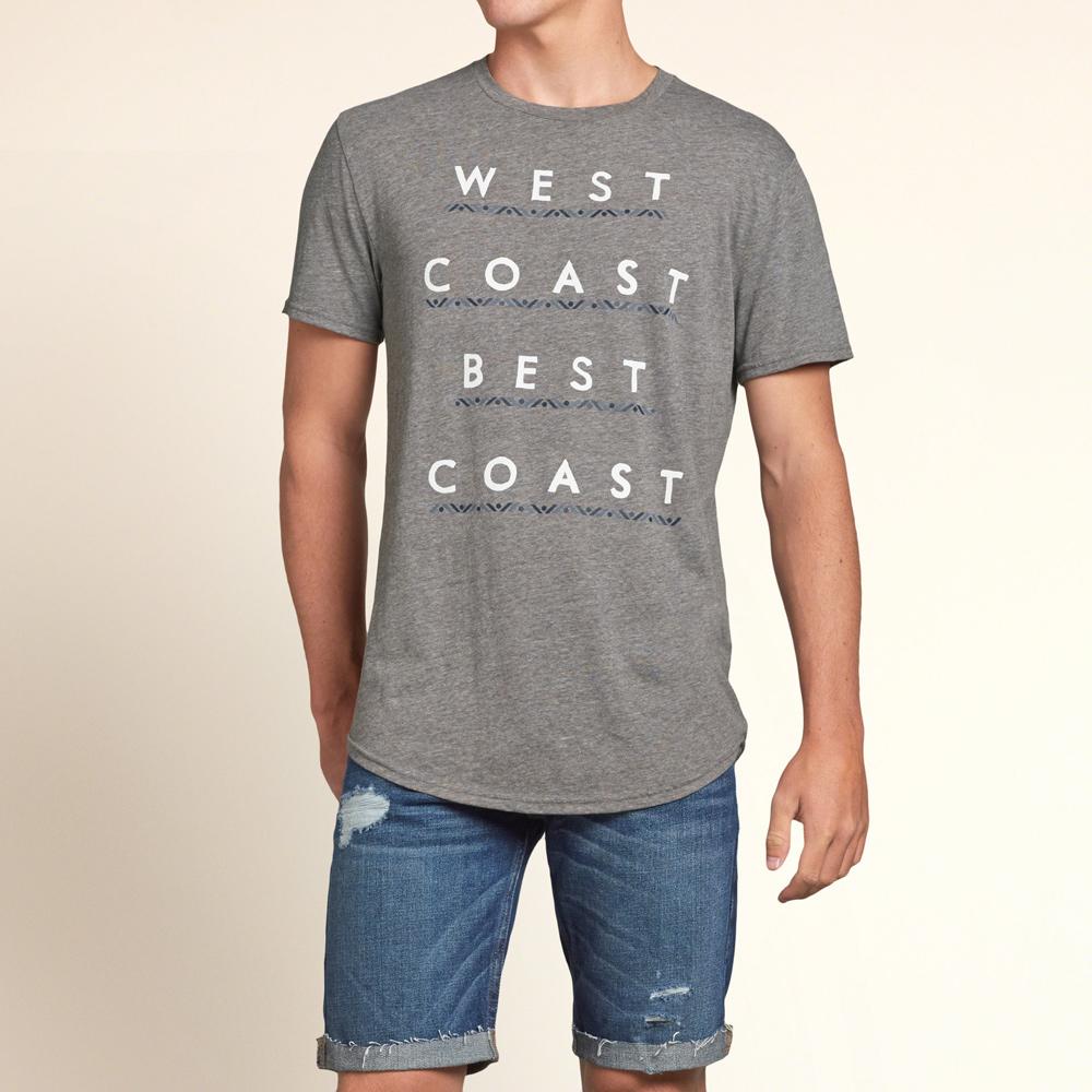 HOLLISTER Co. 男裝 排列字母短T恤(灰)-薄款
