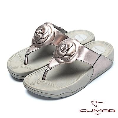 CUMAR舒適樂活-山茶花厚底舒適夾腳鞋-銀灰色