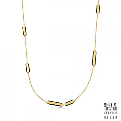 點睛品Emphasis 黃金項鍊- g* collection -矩形黑玉髓