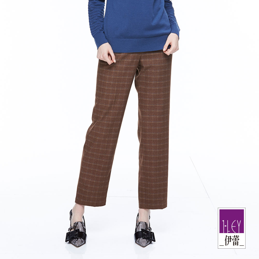 ILEY伊蕾 英倫風百搭格紋長褲魅力價商品(可)