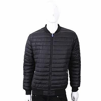 VERSACE 雙面穿幾何圖騰黑藍絎縫科技棉保暖夾克