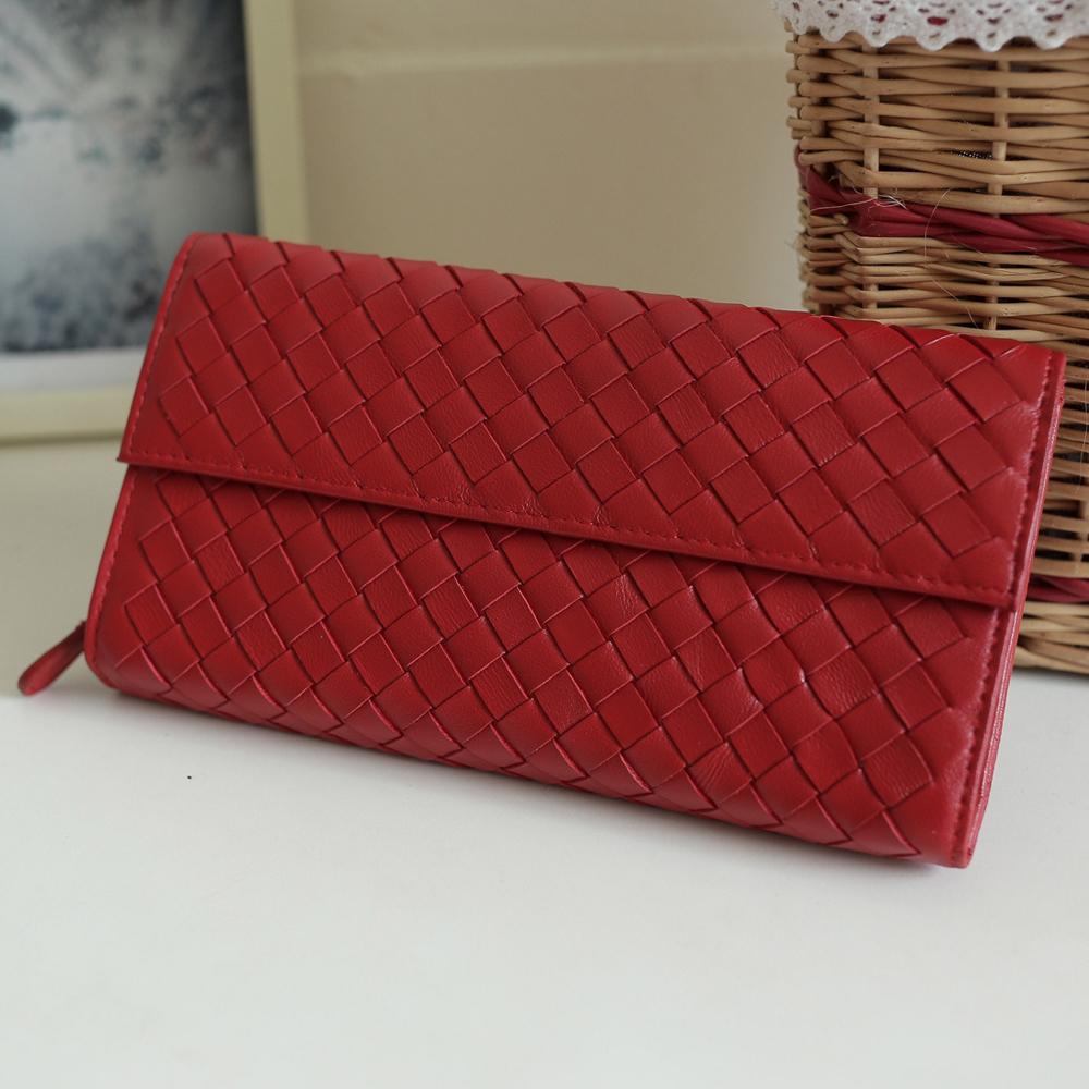 Yasmine時尚經典綿羊皮編織釘釦長夾(紅色)
