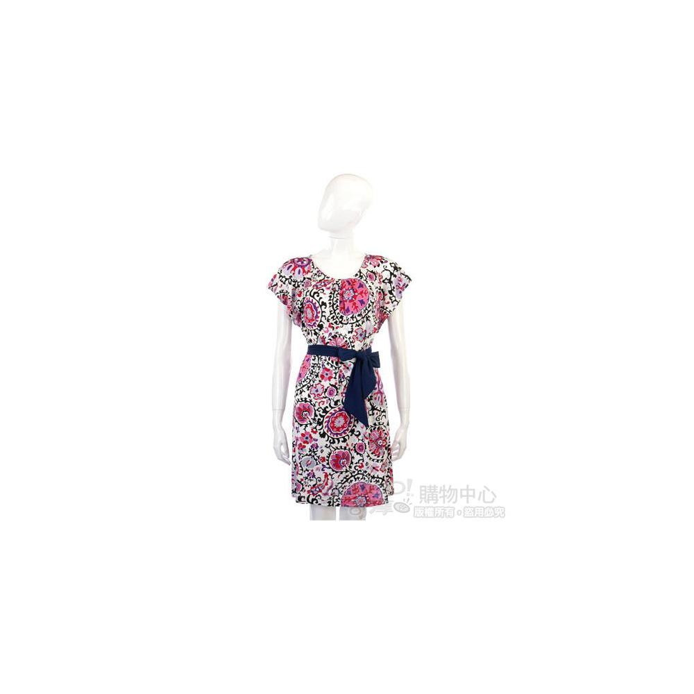 MARELLA 白色粉紅印花短袖洋裝(不含腰帶)