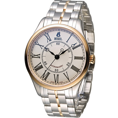 E.BOREL 依波路 復古系列 I經典機械錶-白x玫瑰金/40.5mm