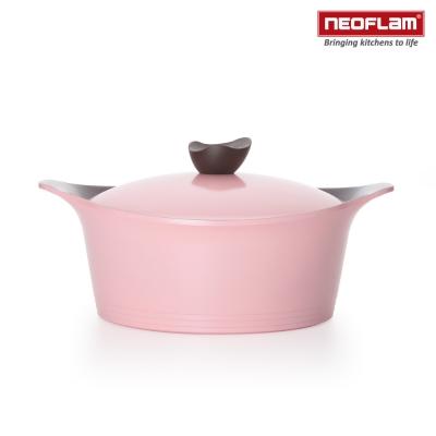 韓國NEOFLAM Aeni系列 24cm陶瓷不沾湯鍋+陶瓷塗層鍋蓋