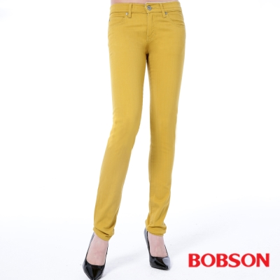 BOBSON 女款低腰膠原蛋白拉毛小直筒褲-黃色