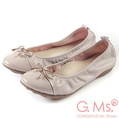 G.Ms. MIT系列-金屬蝴蝶結漆皮拼接牛皮娃娃鞋-淡粉紫