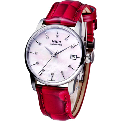 MIDO Baroncelli Big Lady 機械女用腕錶-白x紅/33mm