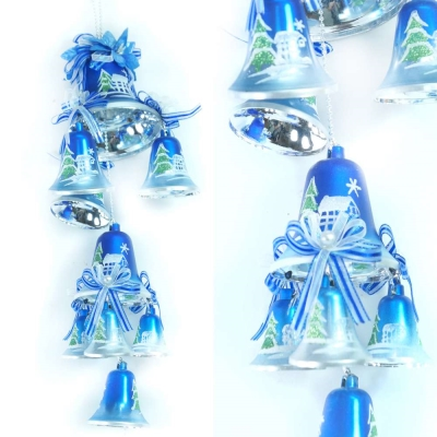 聖誕浪漫彩繪鐘串(藍銀色系)