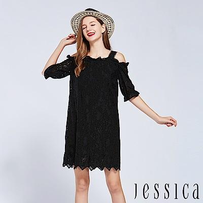 JESSICA - 獨特蕾絲露肩設計洋裝(黑)