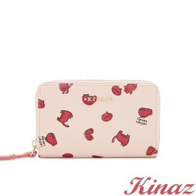 KINAZ-貓咪-蜜香氣泡兩折式中夾-高雅粉