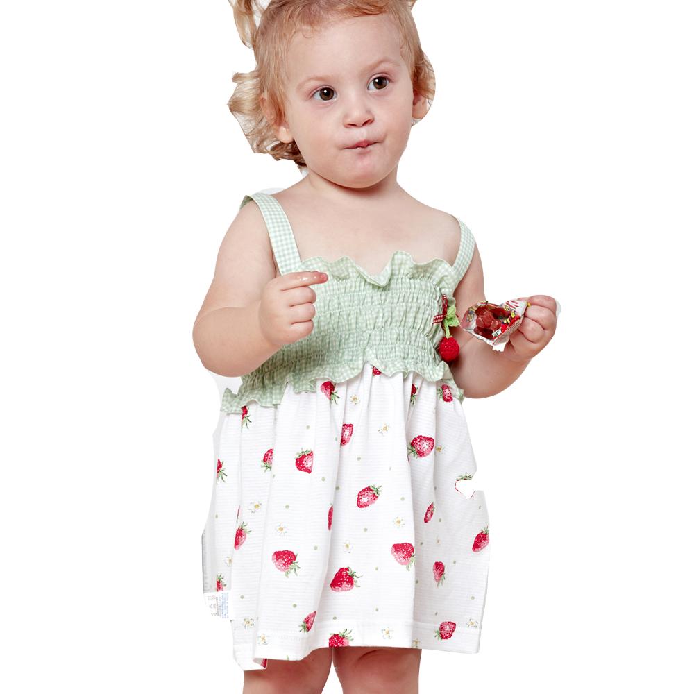 魔法Baby~百貨專櫃正品小草莓吊帶裙(粉.綠)~k27495