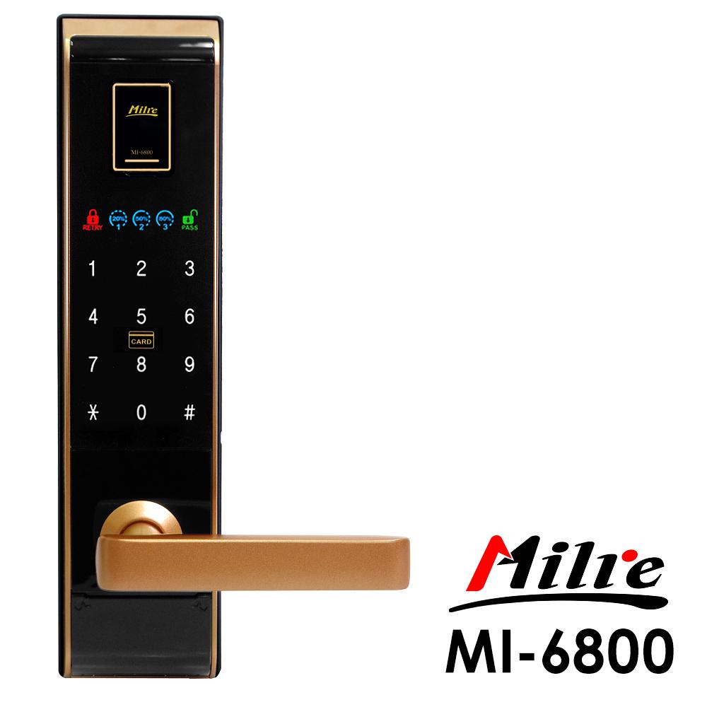 Milre美樂 密碼/指紋/卡片/鑰匙智能電子門鎖MI-6800-黑金色(附基本安裝)